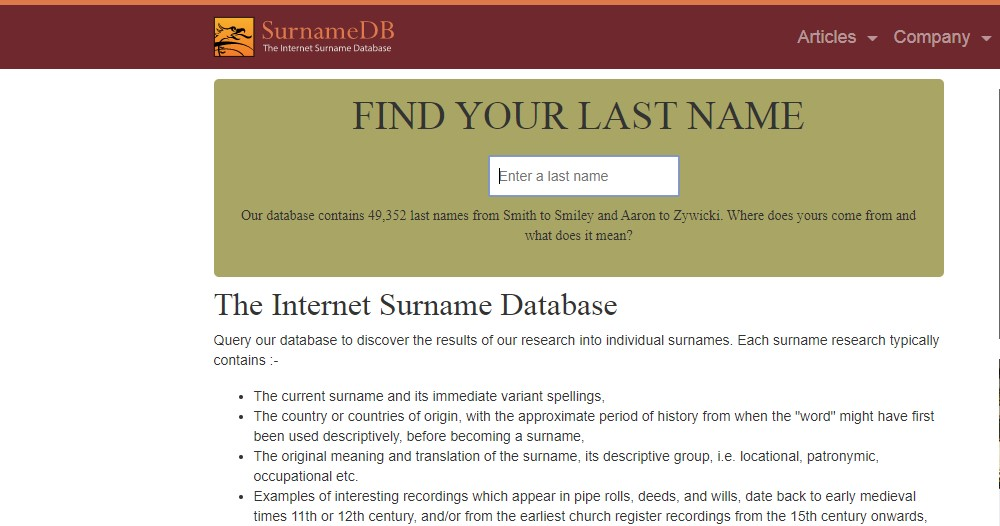 surname DB home page