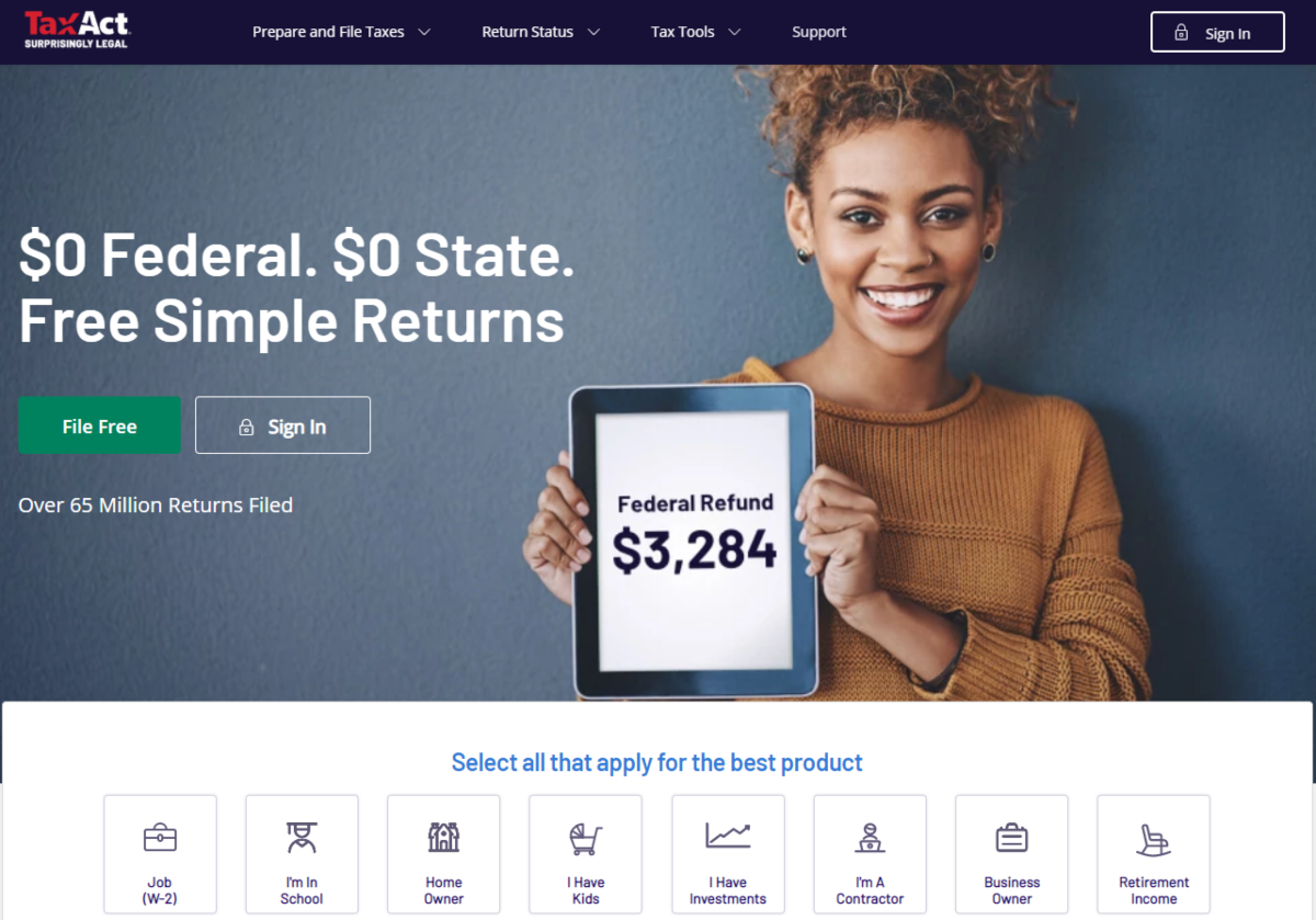 This is a screenshot taken from the TaxAct.com showing a woman smiling while holding a tablet showing she's received a £3,284 Federal Refund.