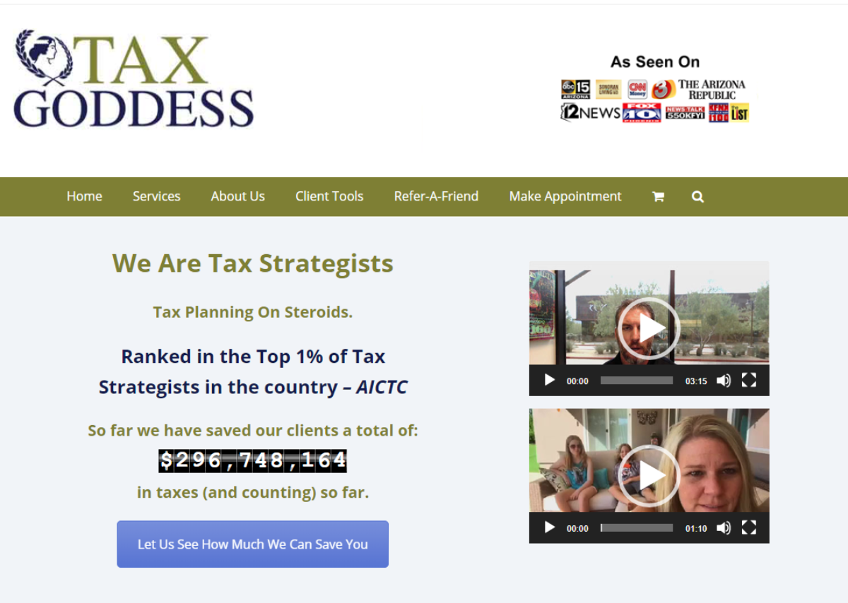 This is a screenshot taken from the TaxGoddess.com website showing the company is ranked as in the top 1% of Tax Strategists in the US