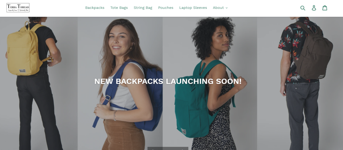 This is a screenshot taken from the TerraThreads.com website showing some of the backpacks they make with certified organic textiles and dyes.