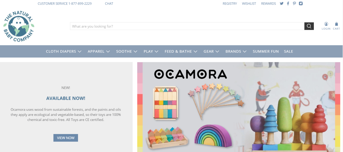 This is a screenshot of the Natural Baby Co website highlighting the Ocamora wood toy range that's made with sustainable wood and toxic-free toys