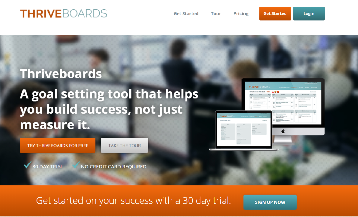 This is a screenshot taken from the ThriveBoards.com website offering software suited to business coaches and management consultants to help with team goal setting and achievements.
