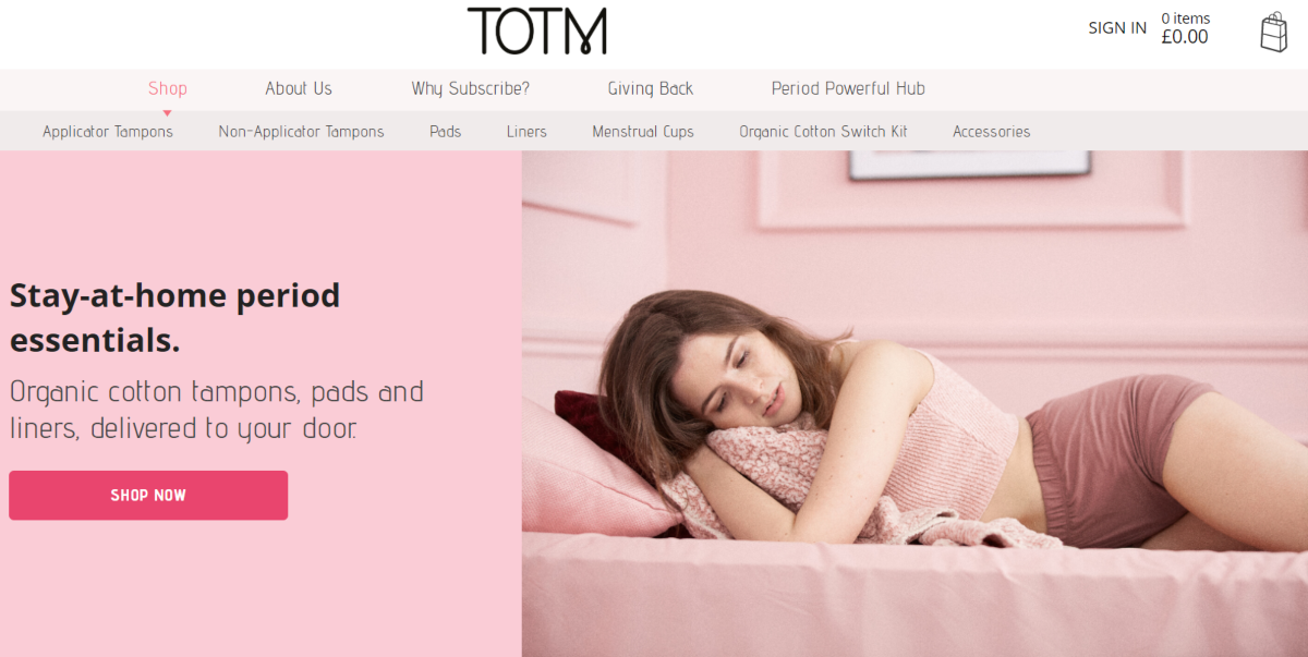 This is a screenshot taken from the Totm.com home page showing they provide natural products for period-care.