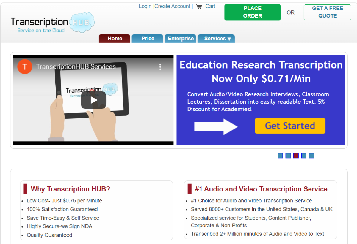 This is a screenshot taken from the TranscriptionHub.com that offers low cost transcription services in the US, Canada and UK.