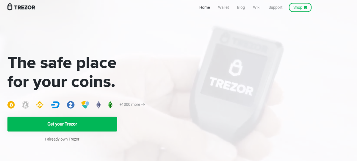 This is a screenshot taken from Trezor.io, a leading brand of cold storage wallets for bitcoin and other cryptocurrencies.