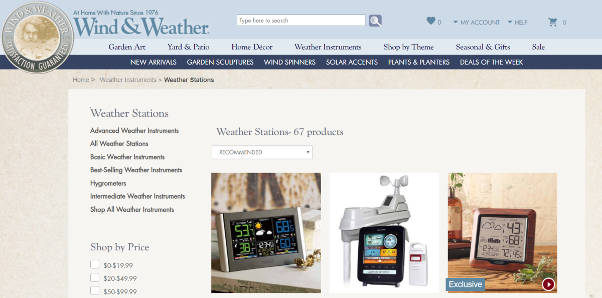 This is a screenshot taken from the weather stations category of products on the windandweather.com e-commerce store.