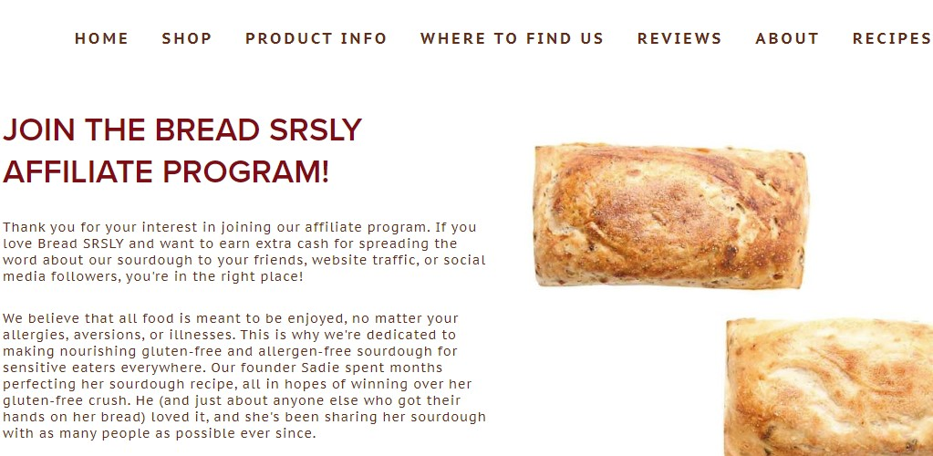 bread srsly affiliate sign up page