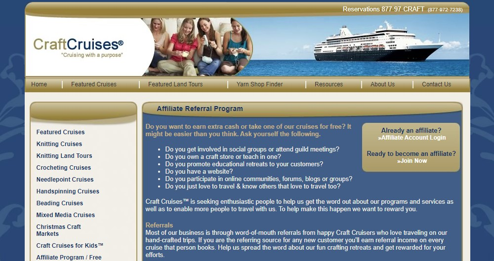craft cruises affiliate sign up page