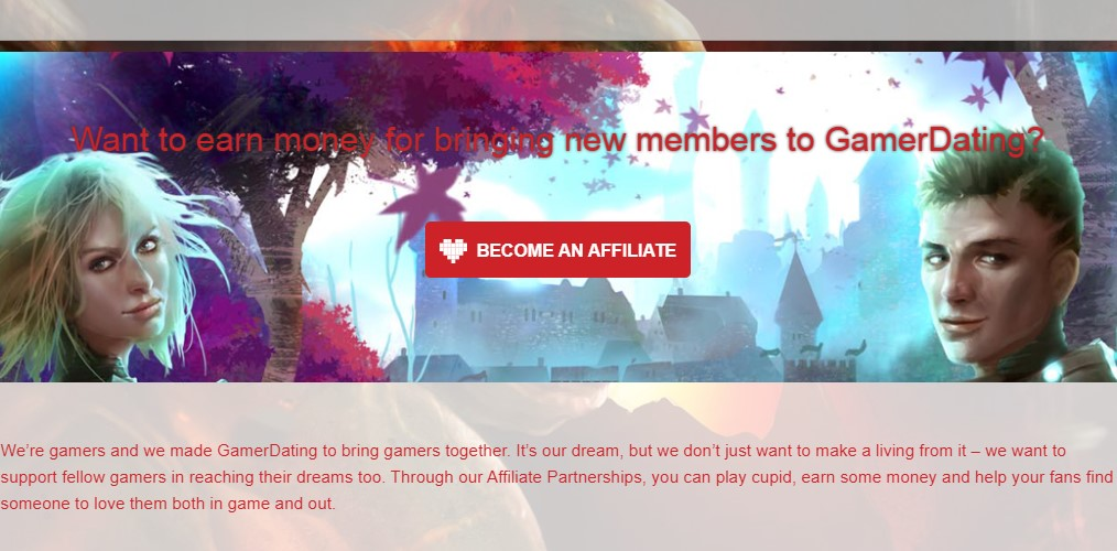 gamer dating affiliate sign up page