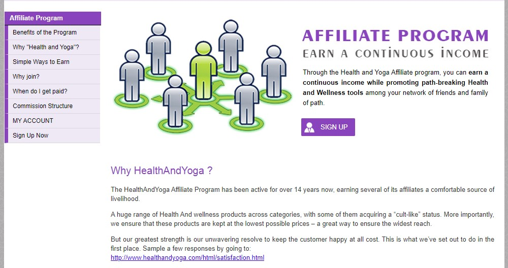 health and yoga affiliate sign up page