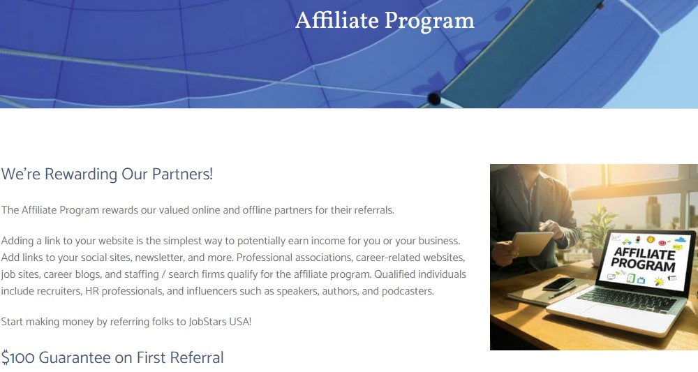 job stars affiliate sign up page