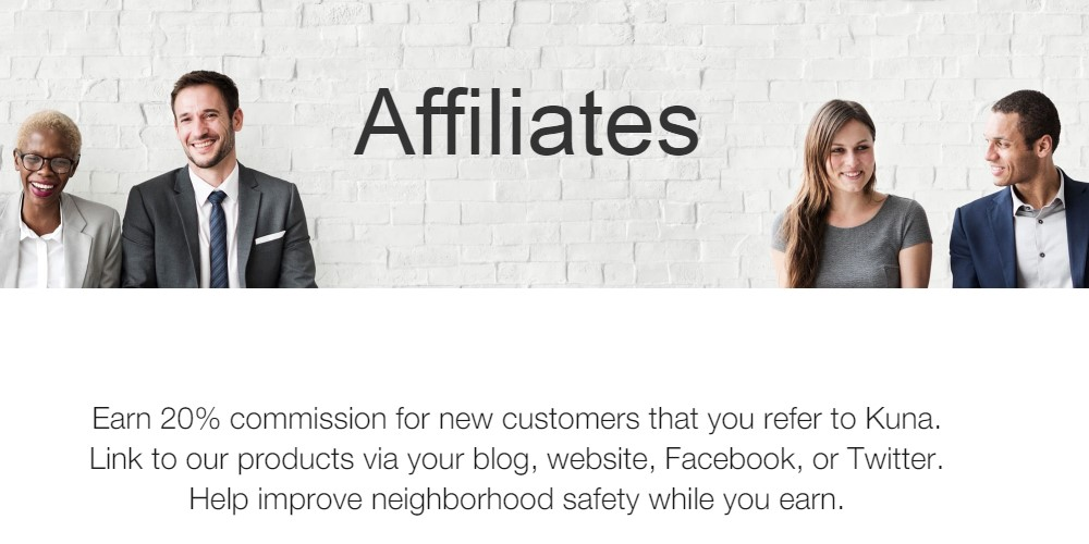 Kuna affiliate sign up page