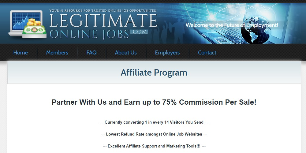 legitimate online jobs affiliate sign up page