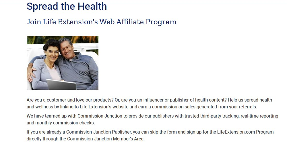 life extension affiliate sign up page