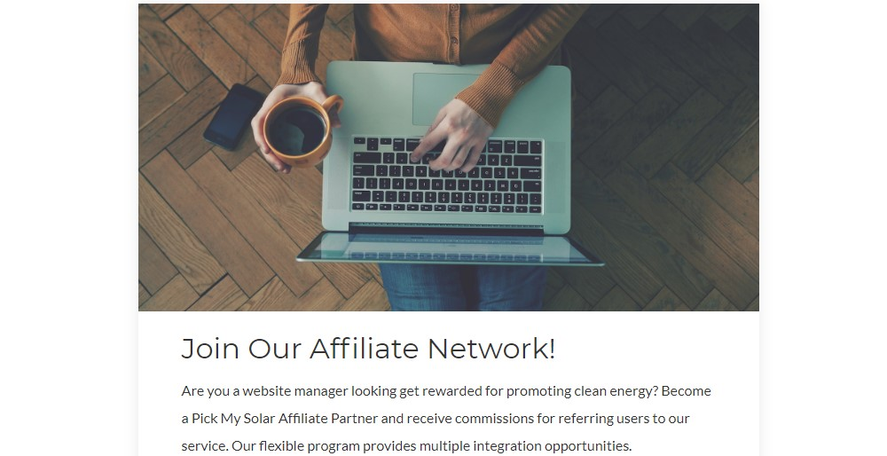 pick my solar affiliate sign up page