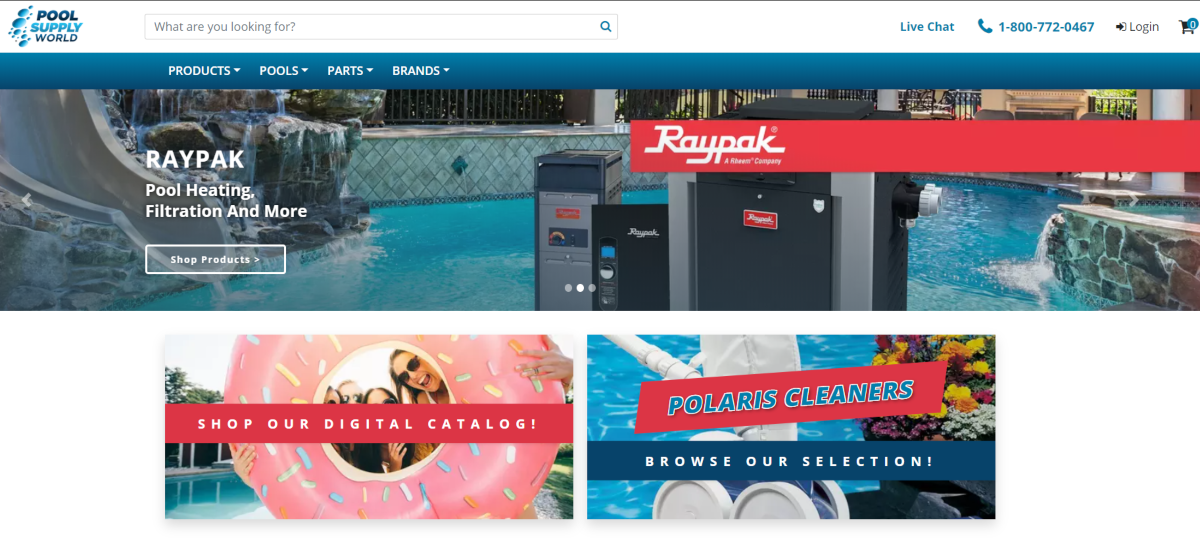 This is a screenshot of the home page for poolsupplyworld.com that have natural pool care products for swimming pools, spas and hot tubs.