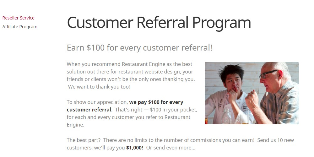 restaurant engine affiliate sign up page