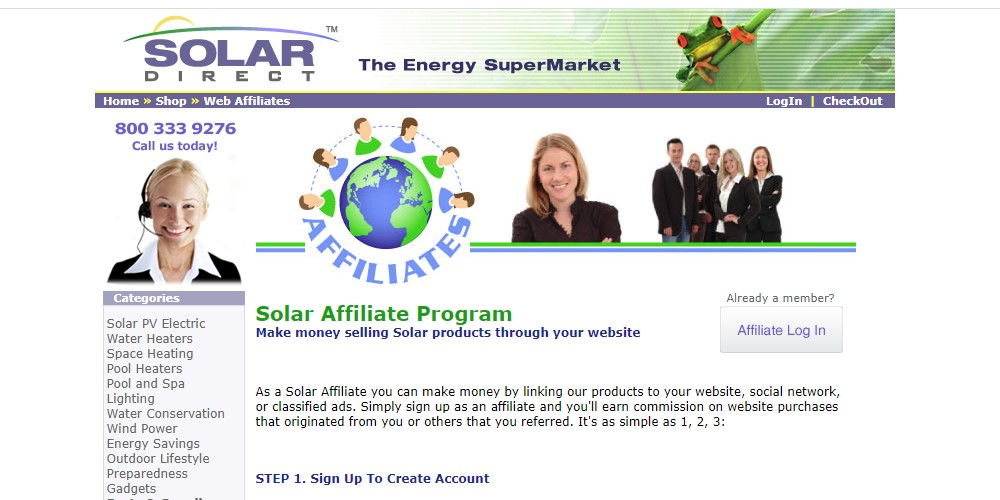solar direct affiliate sign up page