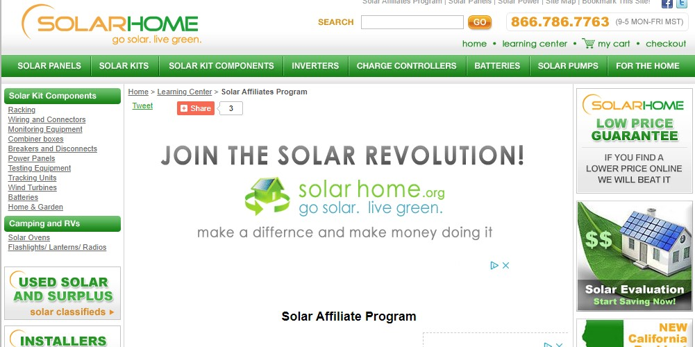 solar home affiliate sign up page