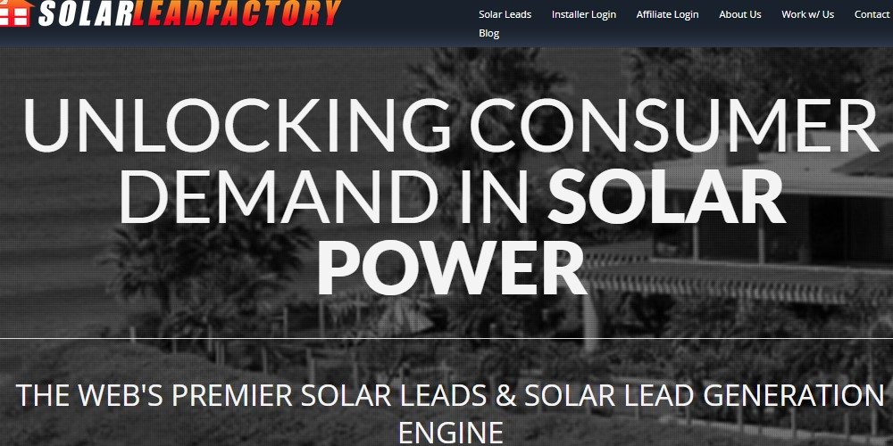 solar lead factory home page