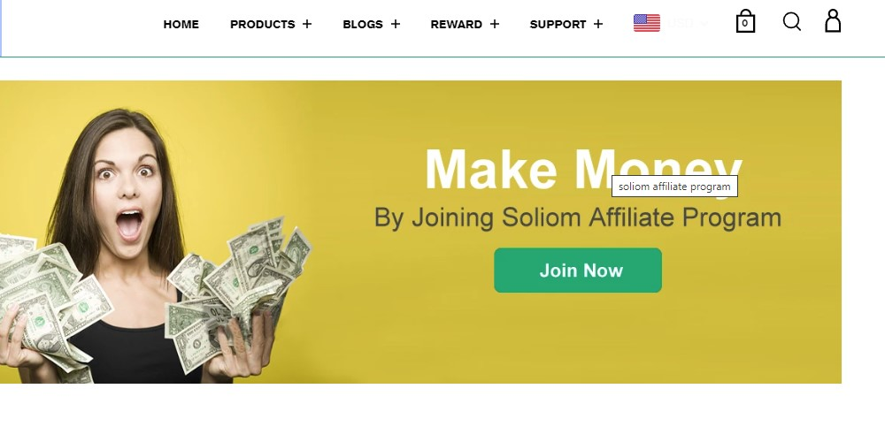 soliom affiliate sign up page