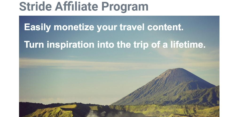 stride travel affiliate sign up page