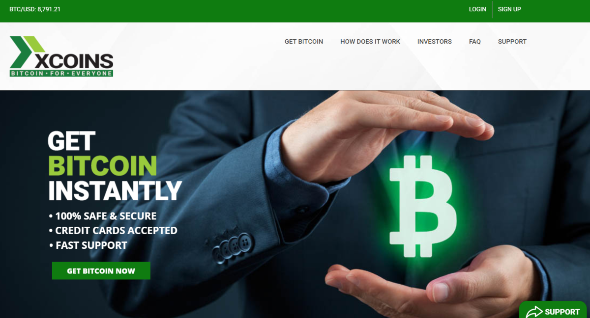 This is a screenshot taken from the xCoins.io website, which is a P2P bitcoin lending platform.