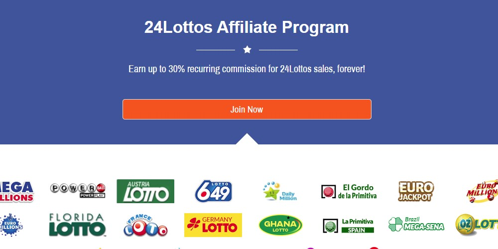 24 lottos affiliate sign up page