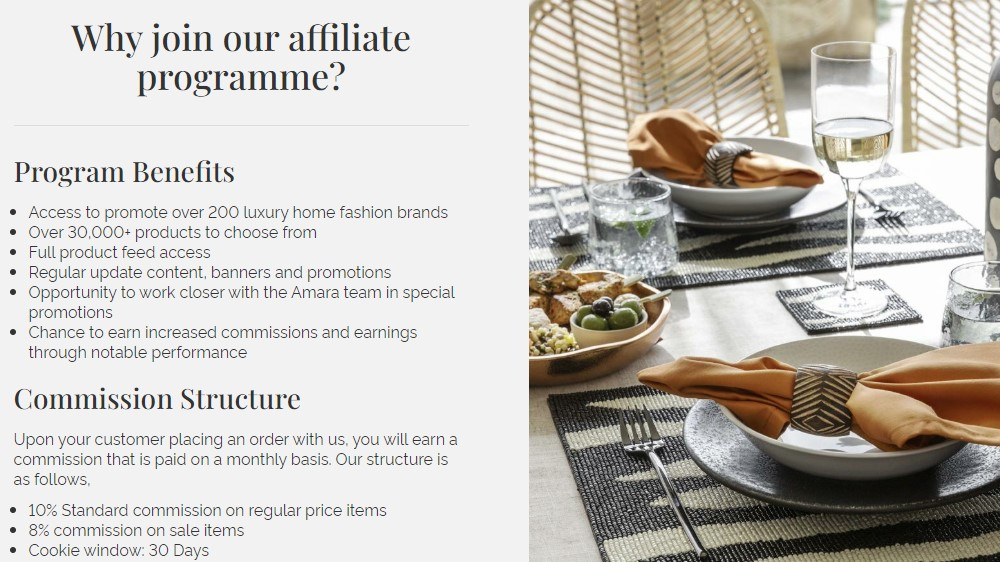 amara affiliate sign up page