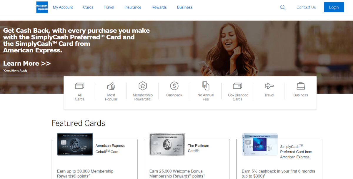 This is a screenshot of the AmericanExpress.com page for credit card offers in Canada.