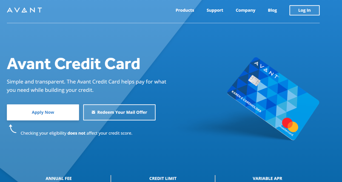 This is a screenshot of the Avant.com website showing they offer a credit cards suited to building credit.