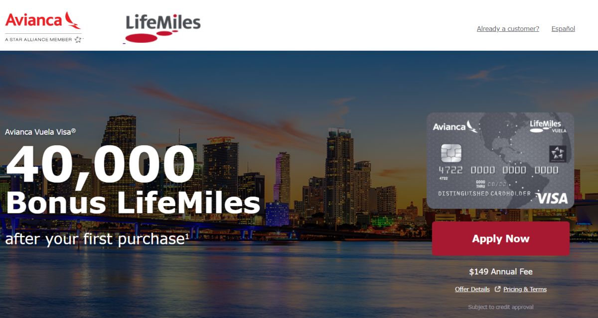 This is a screenshot taken from the Avianca Lifemiles website showing new customers opening a credit card account can receive up to 40,000 bonus LifeMiles