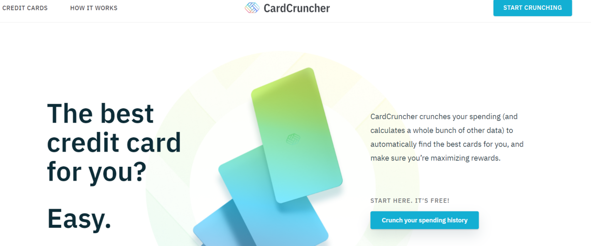 This is a screenshot taken from the cardcruncher.com website, which is a cloud-based software to analyze spending habits and recommend the best credit cards for the most rewards