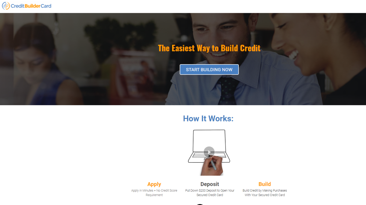 This is a screenshot of the Credit Builder Card website that provides a secured credit card suited to people with bad credit.