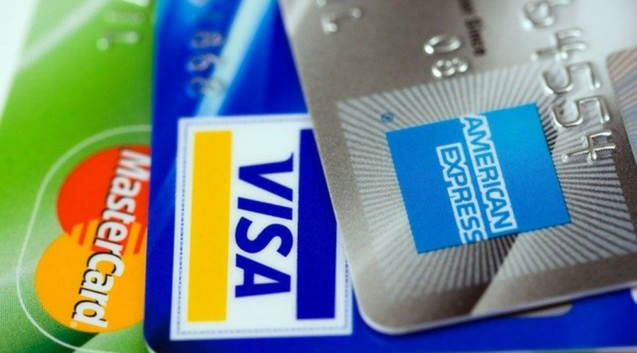 Shown in the image are the three dominant credit card providers in the US - American Express, Visa and Mastercard