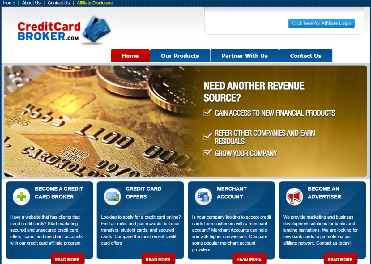 This is a screenshot of the CreditCardBroker.com website showing they are actively looking for partners to advertise the financial products they have available.
