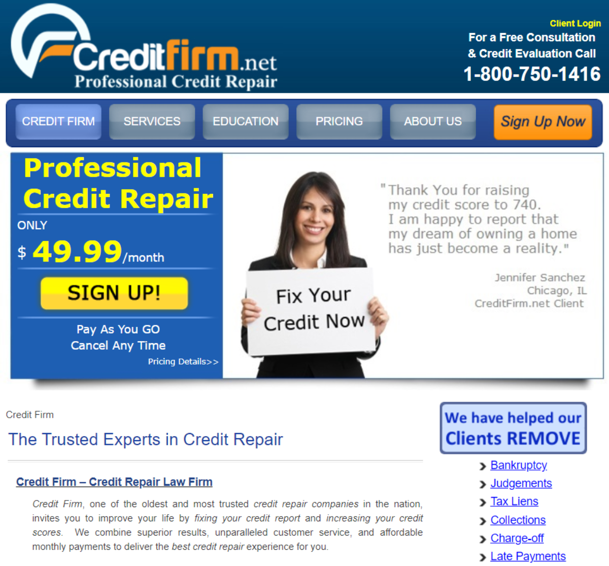 This is a screenshot taken from the homepage of CreditFirm.Net showing they provide a professional credit repair service, provided by legal experts, for the lowest monthly fee in the industry.