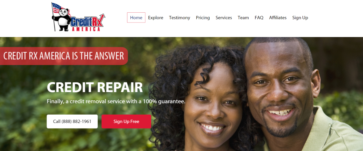 The image shows a screenshot taken from the Creditrxamerica.com website showing they provide a credit repair service backed by a 100% guarantee.