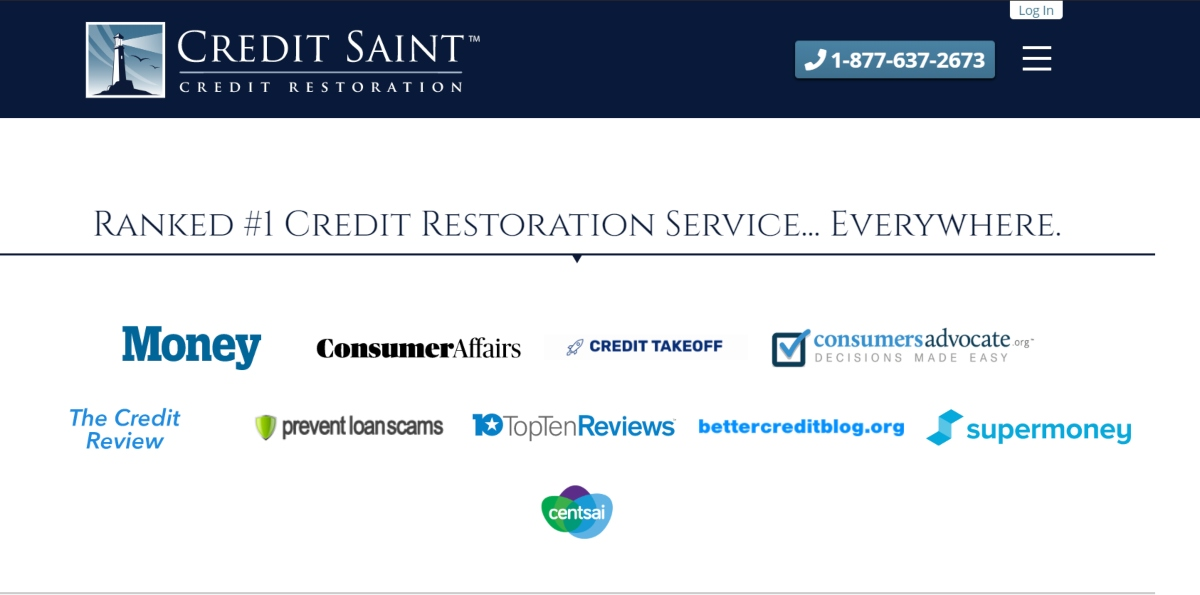 This is a screenshot taken from the CreditSaint.com website showing they are recognized by a number of consumer organizations and ranked the best credit restoration company by all the leading consumer credit publications.