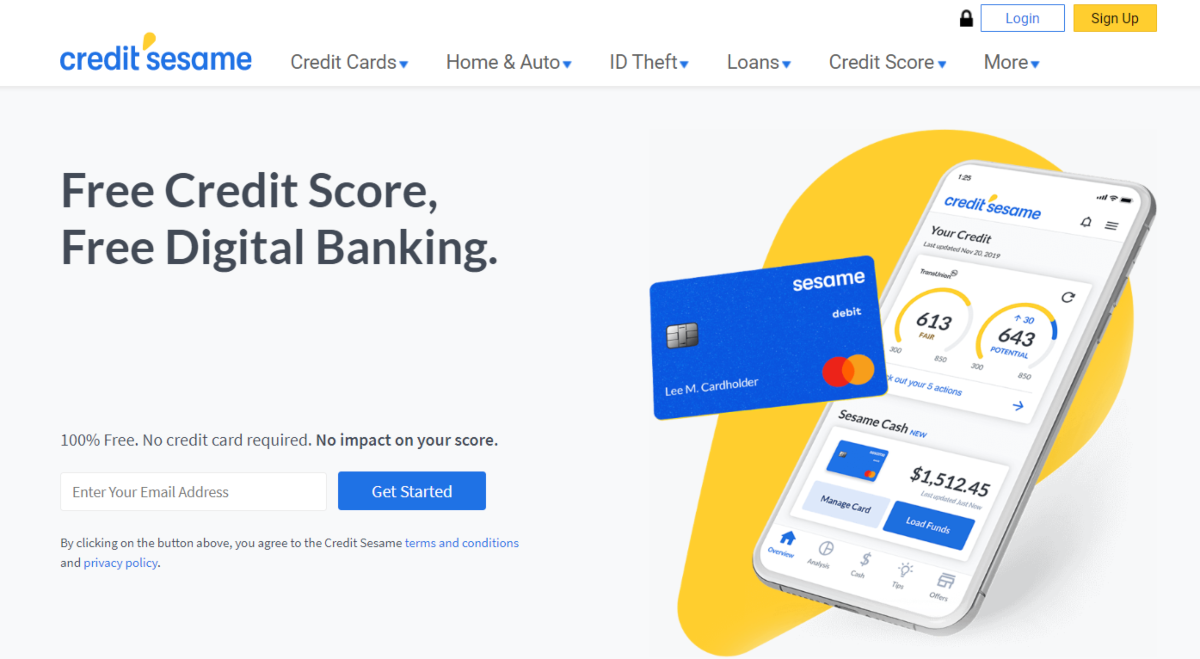 This is a screenshot taken from the Credit Sesame website showing they offer a free credit score, and can help match customers to lenders based on their current credit score.
