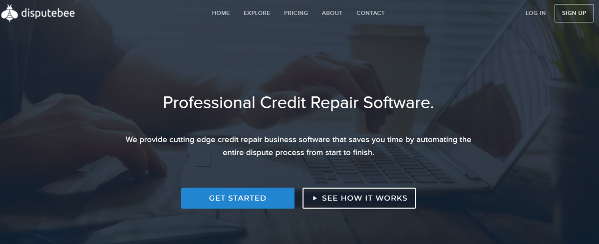 Image shows a screen capture of the DisputeBee.com which provides a credit repair software program suitable for private and commercial use.