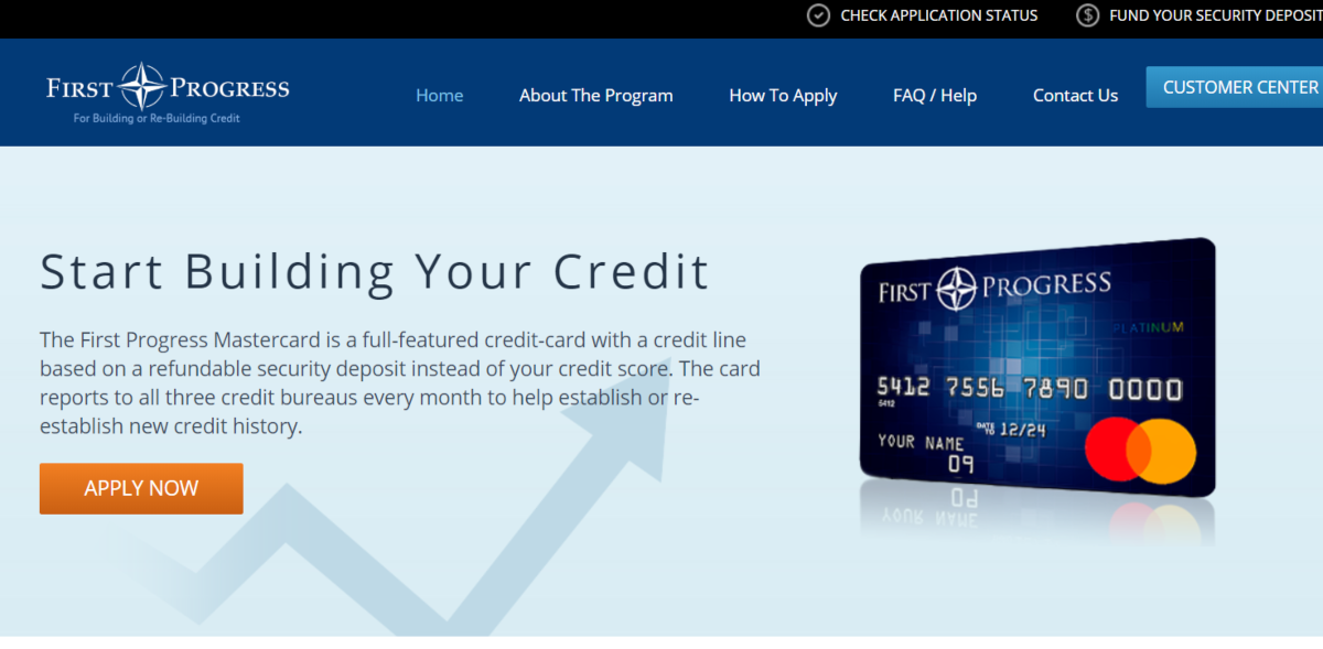 This is a screenshot taken from FirstProgres.com - a service that provides a credit building credit card.