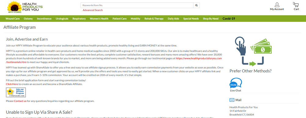 Health Products For You Website Screenshot