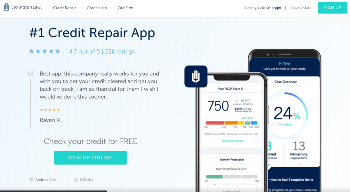 The image shows a screen capture of the LexingtonLaw.com website showing the service ranks as having the best rated Credit Repair App.