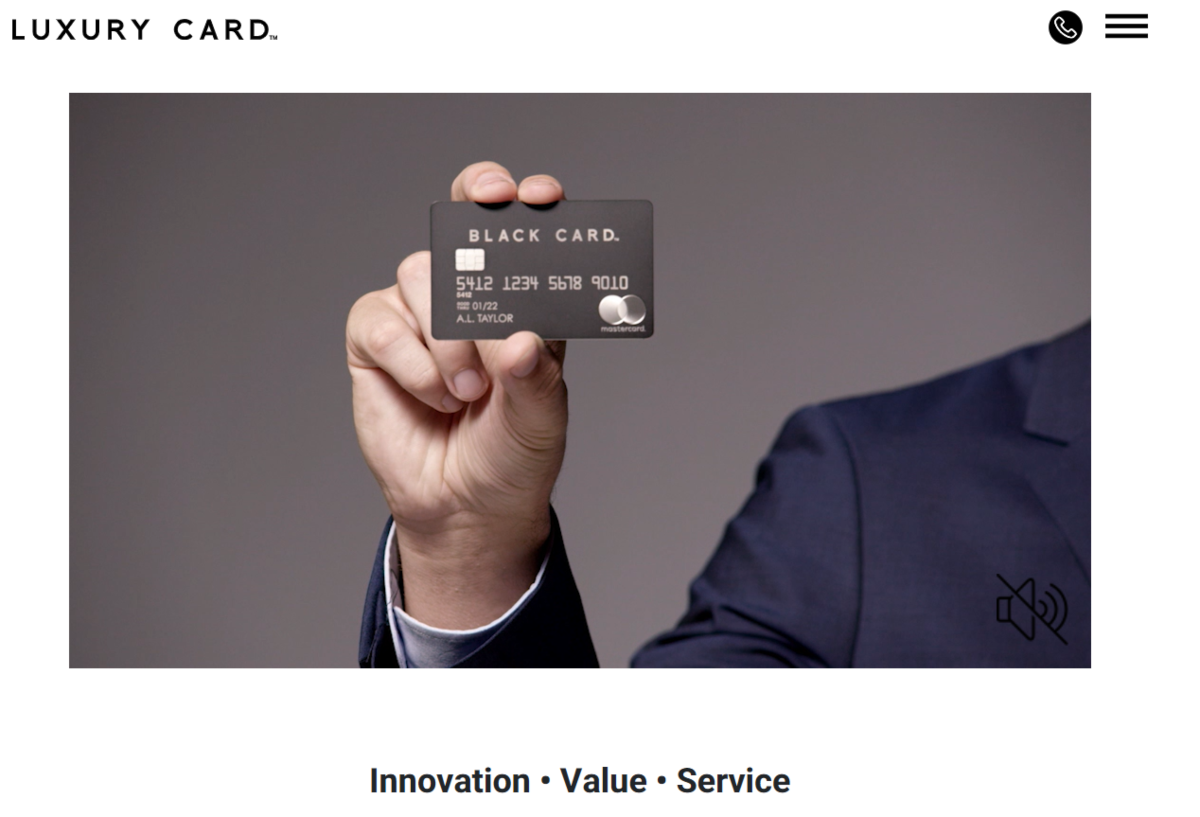 This is a screenshot taken from the luxurycards.com website showing an image of the black card being presented on the video explainer of how the service works