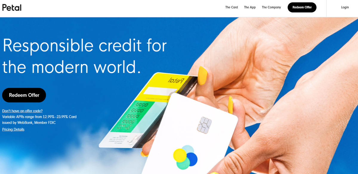 This is a screenshot of the petalcard.com website that provides starter credit cards for those with no credit history