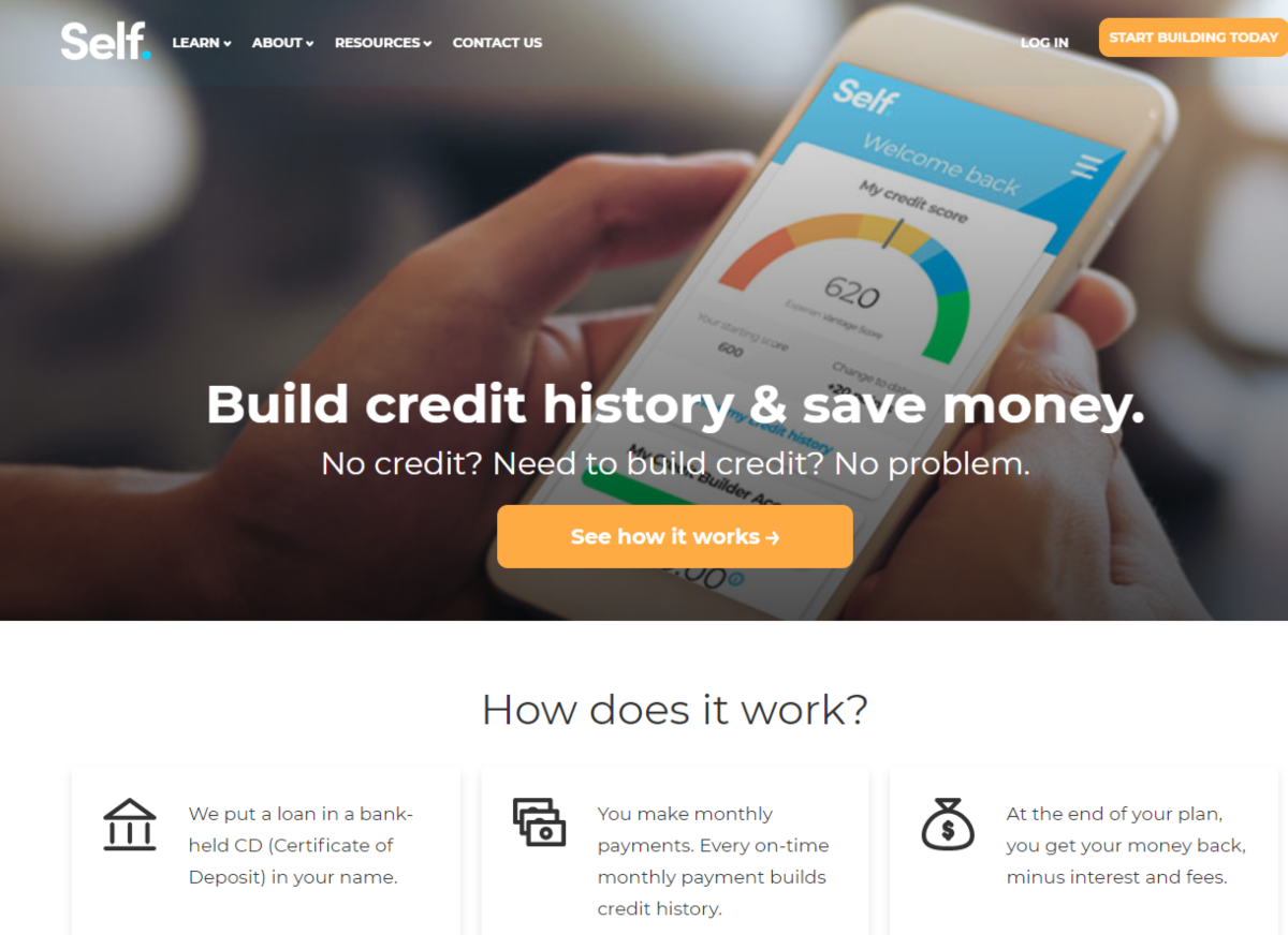 The image shows a screen capture of the Self.inc website showing they provide accounts to build credit and save money
