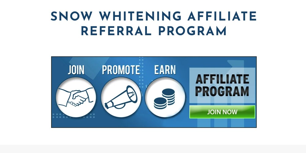 snow whitening affiliate sign up page