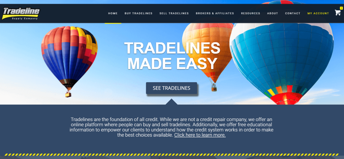 This is a screenshot of the Tradeline Supply Company home page showing they have built a marketplace to make the buying and selling of tradelines extremely easy and completely online.