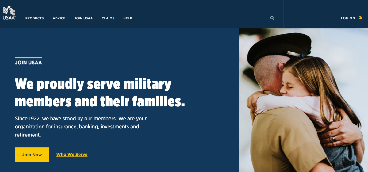 This is a screenshot taken from USAA.com, which is a financial services company for military families